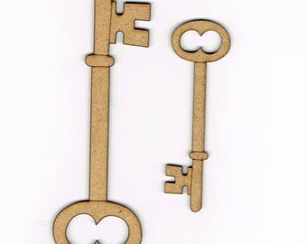 Wood Key Shape Decoration Embellishment Set