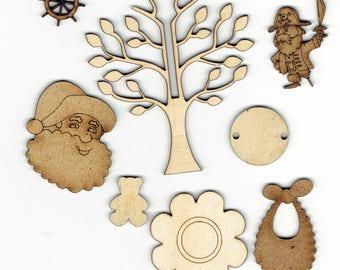 Wood Shape Decoration Embellishment Selection