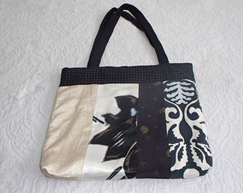 Black Cream Gold Blue Floral Silky Large Tote Bag