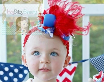 OTT Fourth of July Headband Hair Clip Bow Red White And Royal Blue Feathers Patriotic