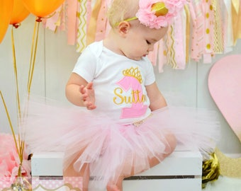 Girls First Birthday Outfit - Pink And Gold Birthday Set - Glitter Headband - 1 - One - Embroidered Bodysuit Or Shirt - Personalized Name