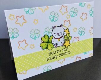 Good luck, lucky cat congratulations card - celebration, cat, animal, lucky charm