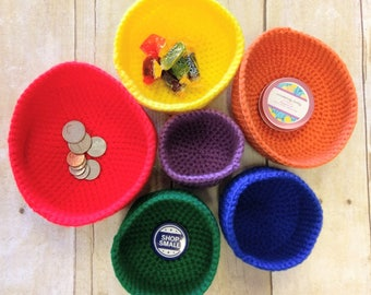 Crochet Bowls, Stackable Bowls, Nest of Bowls, Nest of Dishes, Colorful Dishes, Jewelry Dishes, Crochet Baskets