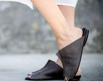 CIJ SALE Grey Summer Flats, Leather Sandals, Slide Sandals, Handmade Sandals, Summer Shoes, Grey Mules, Slip On Sandals, Eva