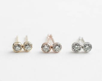 14k gold, rose gold, white gold 2mm diamond stud earrings, dainty diamond earrings, white diamond, dal-e101-2mm-dia / RTS