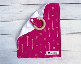 Pink Gold Arrow Teething Lovey - Baby Blanket - Teether Toy - Security Blanket - Best Teether Toy - Teething Blanket - Organic Teething Ring