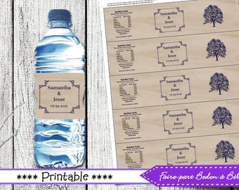 Wedding Water Bottle Label Wrappers - Wedding -printable wedding - printable label -  printable water bottle - digital printable