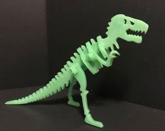 UV Green Glitter Dinosaur Skeleton 3D Puzzle - T-Rex Fossil Figure