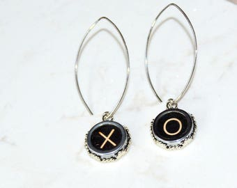 Typewriter Key Earrings – X & O (Kisses and Hugs), Typography, Art Deco-Steampunk Style.