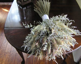 Dried Flower Bridal Bouquet, Weeding Wheat Bouquet, Fall Bridal Flowers, Rustic Field Bouquet, Wedding Flowers, A Bokay for a Bride