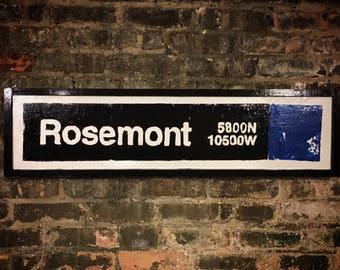 Rosemont Blueline Stop, Chicago BlueLine, Rosemont IL, Chicago Transit System, Train Art, Street Art, Vintage Signs, Art, Rosemont