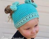 GIRLS Ponytail Hat / Girls Messy Bun Hat / Ponytail Hat for Girls / Girls Bun Hat / Winter Hat / Girls Winter Hat / Winter Hat / Beanie Cap