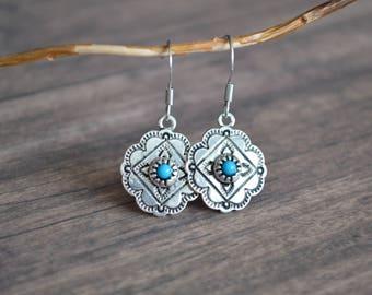 Southwestern Style Earrings, Turquoise Silver Earrings, Hippy Earrings, Gift For Her, Gift Idea, Boho Earrings, Bohemian Earrings