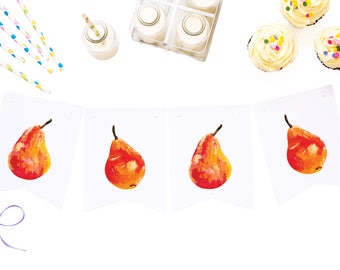 digital download, printable banner, fruit theme, pears decor, downloadable paper garland, party supplies, celebration decor, summer bunting