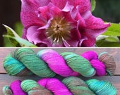 Christmas Rose Sparkle Sock, 4ply merino yarn with silver stellina