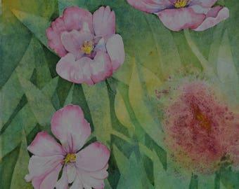 Spring blooms watercolor painting original floral painting pink tulips studio art collector tulip painting fine art painting Terri Robertson