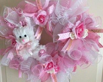 Little Bunny Foo Foo Pink & White Romantic Shabby Cottage Wreath
