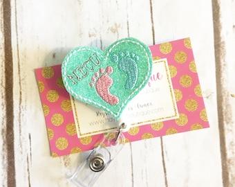 NICU Badge Reel - Badge Holder - Nurse - Nurse Gift - Pediatric - Labor and Delivery -  Badge Holder - Felt Badge Reel -Office Gift