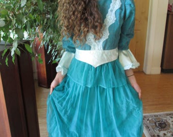 Period Costume, Princess Dress, Shakespeare, Teal, Brocade, Chiffon, Theatre, Halloween, Reenactments, Zipper