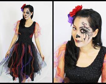 Adult  Halloween Fairy Costume  ~  Bohemian ~ Party Dress ~ Theatre ~Mardi Gras ~ Cinco de Mayo festival