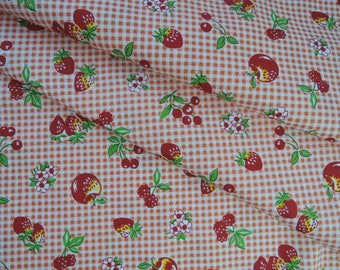 "Half Yard of 2015 Lecien Retro 30's Gingham Check Fruits Fabric. Approx. 18"" x 44"" Made in Japan"