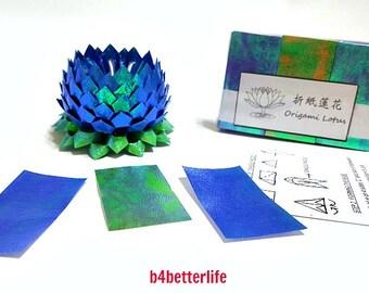 Pack of 300 Sheets Dark Blue Origami Lotus Paper Folding Kit for 3pcs Small Size Lotus. (TX paper series). #LPK-52.