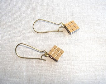 Gold faceted Stud Earrings