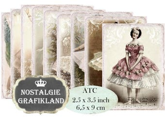 French Ballet Ballerina Labels Shabby Chic printable ATC Instant Download digital collage sheet decoupage S153