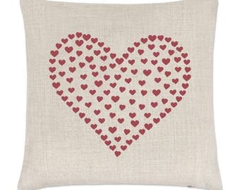 Heart Of Hearts Linen Cushion Cover