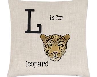 Letter L Is For Leopard Linen Cushion Cover