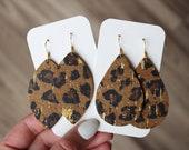 Leopard Cork Leather Drop Earrings, petal earrings, cork earrings, the leather drop, leopard earrings, leopard cork leather