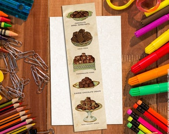 Shabby chic bookmark. Chocolate bookmark #2. Paper bookmark. Vintage Food bookmark.Book lover gift. Vintage food illustration.Food art print