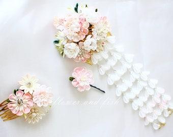 kanzashi hair comb-Set Of Three-kanzashi flower--Kanzashi, bridal hair piece,Kanzashi flower-