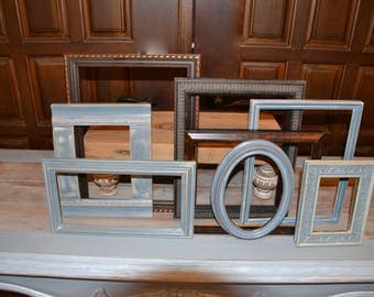 set of picture Frames gray distressed and wood collection.
