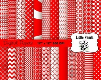 70% OFF SALE Red and White Digital Scrapbooking Papers 24 jpg files 12 x 12 - Instant Download - D344