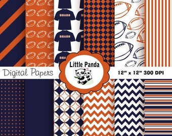 70% OFF SALE NFL Chicago Bears Digital Paper Pack, Digital Scrapbooking Papers, 12 jpg files 12 x 12 - Instant Download - D107