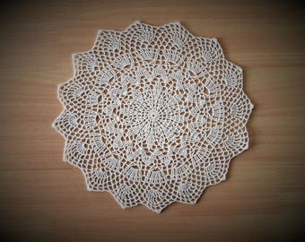Simple white crochet doily; Made by VerLen Crochet; Ready to ship