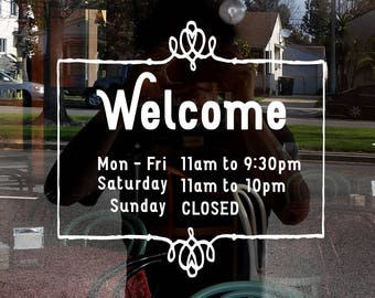 Vintage style_2 window decal for Business, shop hours