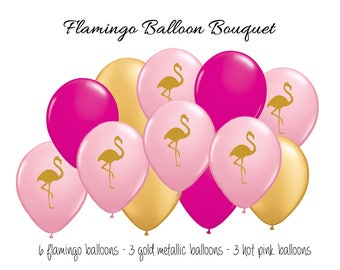Pink and Gold Flamingo Balloon Bouquet - Pink Flamingo Balloons - Flamingo Party - Lets Flamingle - Gold Balloons - Tropical Balloons Decor