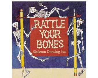 ON SALE Rattle Your Bones Skeleton Drawing Fun Vintage 1990s Scholastic Book David Clemesha and Andrea Griffing Zimmerman How to Book