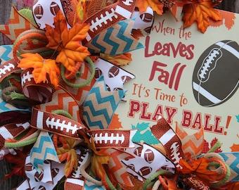 Fall Wreath, Football Wreath, Fall Mesh Wreath, Fall Grapevine Wreath