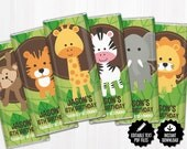Safari Chocolate Bar Wrappers. Birthday Chocolate Bar Wraps. Printable Party favors. Editable Labels. Jungle Theme Large Candy Bar Labels