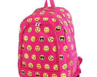 MM Emoji Monogram Backpack | Personalized Backpack | Monogram Bookbag | Boys Backpack | Pink Backpack | Kids Backpack | School Backpack