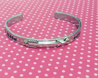 Follow your arrow wherever it points/ Graduation cuff/ Inspirational quote jewelry
