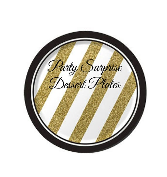 Black And Gold Beverage Napkins: Black And Gold Foil Dessert Plates Birthday Wedding