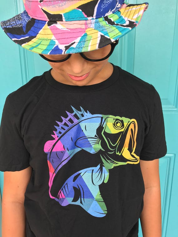 Fishing t-shirt - Colorful Fish Silhouette t-shirt - Fishing T-shirt for Bass Fisherman - Fishing Gifts for Him - Fishing Gifts