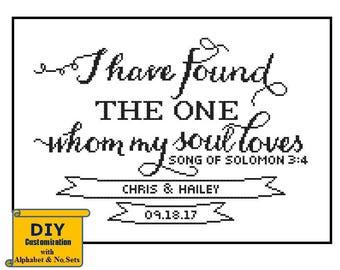 Song of Solomon cross stitch I have found the one DIY customizable Pattern Modern Wedding cross stitch Wedding Record Sampler Anniversary