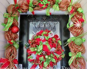 Whimsical Christmas Wreath with Door Garland, Holiday wreath, Christmas door hanger,  Christmas Decoration, Large Wreath, Front door Wreath