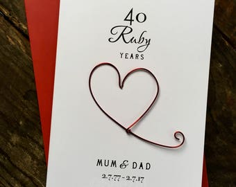 40th Wedding Anniversary Card RUBY Red Wire Heart Personalised 40 Ruby Years Traditional Gift Husband