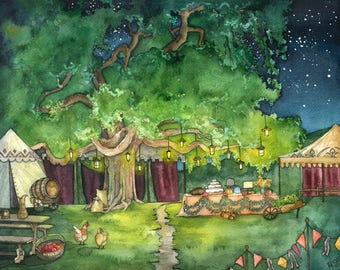 "Party Tree Painting - Print titled, ""A Long Expected Party"", The Lord of the Rings, The Hobbit, The Shire, Hobbiton, Bilbo Baggins, Tolkien"